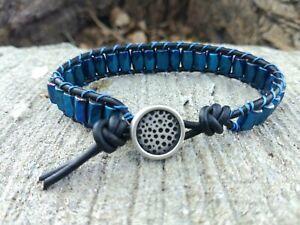 Men's Sports Golf Bracelet with Metallic Blue Magnetic Beads Black Leather