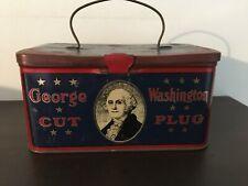 Vintage George Washington cut plug tobacco tin-antique-advertising