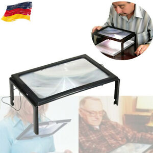 LED A4 Tischlupe Standlupe Licht faltbar Lesehilfe Lupe 5 fach Leselupe Senioren