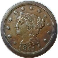 1851 1C LIBERTY HEAD BRAIDED HAIR LARGE CENT XF NICE LOOKING COIN (11102003)