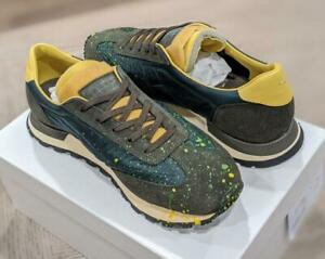 $630 Mens Maison Margiela Paint Splatter Replica Runner Sneakers Green 44 US 11