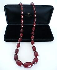 Vintage Cherry Amber Bakelite Beaded Bead Necklace. Gorgeous!