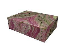 """BUTW- Argentine Rhodochrosite 8"""" Jewelry Stash Box Lapidary Carving 0634K ab"""