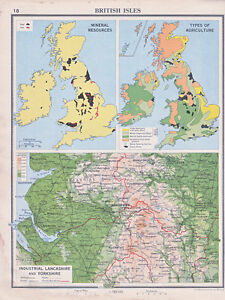 1941 MAP ~ BRITISH ISLES MINERAL AGRICULTURE ~ INDUSTRIAL LANCASHIRE & YORKSHIRE