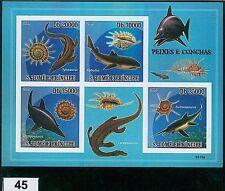 Sao Tome e Principe - ERROR, IMPERF SHEET: SHELLS, FISH, MARINE LIFE, PREHISTORY