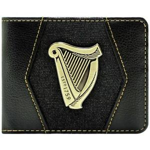 NEW OFFICIAL GUINNESS HARP ICON EST 1759 BLACK ID & CARD BI-FOLD WALLET