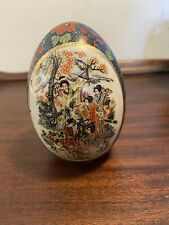 Vintage Royal  Satsuma Hand Painted Egg Japanese Geisha