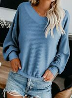 Solid Fashion Shirt V-Neck T-shirt Women's Tops Blouse Casual Long Sleeve Loose