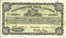 Isle of Man One Pound Currency Westminster Bank Ltd. Douglas 1956 VF/XF Nice!  8