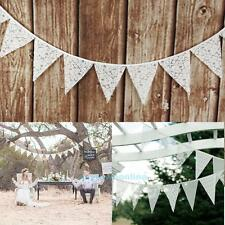 12 Flags 3.2m White Lace Flower Party Wedding Pennant Bunting Banner Decor NEW