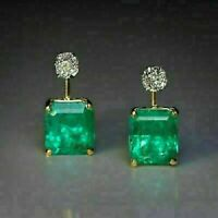 3.00 CT Emerald & Diamond Solitaire Clip On Stud Earring In 14K Yellow Gold Over