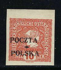 B&D: 1919 Poland Scott P4 newspaper stamp 10h orange--MLH--expertized and fresh