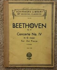 VTG Music Book/BEETHOVEN/Concerto No.IV/FOR THE PIANO/Copyright 1939/ Schirmer
