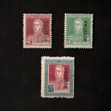 "Republic of Argentina 1923 Sc# 326, 327, 338, ""MUESTRA"" Ovpt. Stamps"
