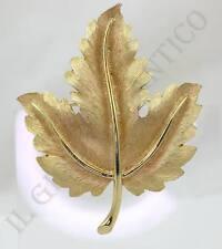 Spilla TRIFARI anni 50/60 Foglia Lucida e Satinata Trifanium Placcato Oro
