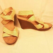 Old Navy women's braided cross ankle strap sandal wedges shoes sz 9 - nearly new