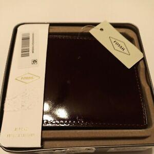 Fossil Men's Benedict Front Pocket Wallet-Bifold CLARET RED ML4319599 BRAND NEW