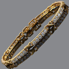 Schmuck Jewelry Cubic Zirconia Round Cut White Topaz Tennis Statement Bracelet