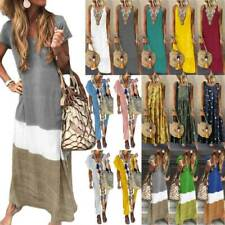 Womens Boho Tie-dye Maxi Kaftan Dress Holiday Beach Loose Baggy Summer Dress USA