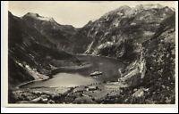 Brevkort Norge Norway Norwegen ~1930/40 Schiff Fjord Utsigt over GEIRANGER Fjord