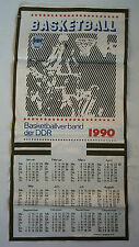 Orig.Tuch / Kalender   1990   BASKETBALLVERBAND der DDR  //  58 x 28 cm  !!  TOP