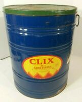 """Vintage Large 115 lb CLIX Ideal Shortening Can With Lid 21"""" Tall - Advertising"""