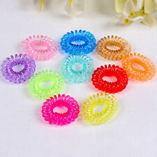 New 12X Colorful Clear Plastic Hairband Elastic Rubber Hair Ties Ponytail Holder