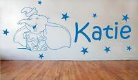 Personalised Dumbo laughing Wall Vinyl Sticker Bedroom Children Stars Girls boys
