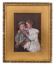An Antique American Folk Art Double Sided Portait Painting Of Children