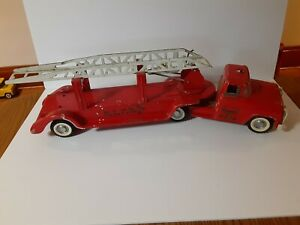 1950s Buddy L BLFD Pressed Steel Ext Ladder Truck Fire Dept With Grill
