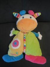 452/ doudou peluche semi plat vache girafe jaune vert rose bleu BABYSUN