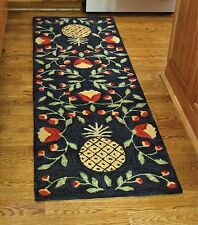 New Primitive Country Folk Art Black PINEAPPLE WOOL HOOKED RUG Runner Floor Mat