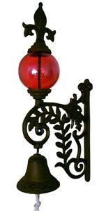 "Cast Iron Fleur De Lis Victorian Style Bell with Red Glass Gazing Ball 15"" Tall"
