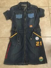 Girls Baby Phat Denim Zip Up Dress with Patches, Belt And Flap Back Pockets