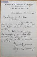 Odessa, DE 1908 Dairy/Creamery/Butter Letterhead - Delaware Del