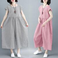 ZANZEA Femme Combinaison Casual Ample Col rond Vérifier Pantalon Jambes larges
