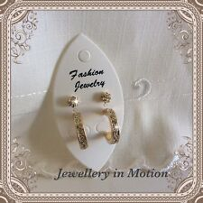 Earring Duo Set - Pierced Only- Gold Tone Diamanté Stud and Hoop