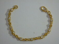 JUDITH RIPKA 14K YELLOW GOLD CLAD DIAMONIQUE ROLLING BRACELET 100 FACET AVERAGE