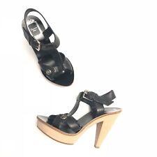 NWOT Dior Christian Dior Black Leather Wood Platform Heels MSRP $995 Size EUR 35