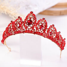 Red Crystal Tiaras Pageant Wedding Crown Bridal Rhinestone Tiaras Women Hairband