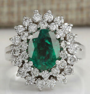 1.70Ct Natural Zambian Green Emerald With White Diamond Ring In 14KT White Gold