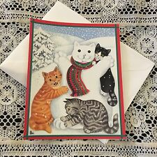 Vintage Greeting Card Christmas Cats Snowman Gisela Boomberger Caspari
