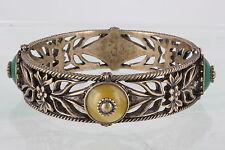 BRASS LUCKY BRAND HEAVY ANTIQUE GOLDTONE YELLOW & GREEN STONES BRACELET 0186B