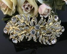 Gold tone with clear rhinestone crystal hair barrettes metal hair clip ha3120m