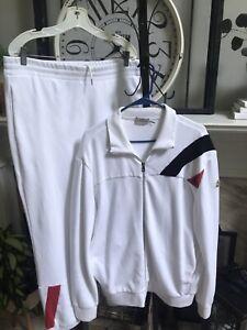 MONCLER men's white track suit sweat suit jacket & pants - trusted seller sz XL