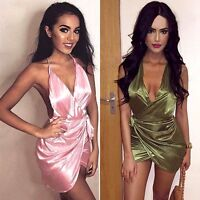 Sexy Womens Sleeveless Evening Party Cocktail Silk Bodycon Short Club Mini Dress
