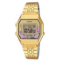 NEWEST Casio LA680WGA-4C Women Mid-Size Digital Retro Vintage Watch FLORAL GOLD