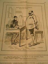 Caricature 1884 - Bureau des Passeports Permis de Chasse