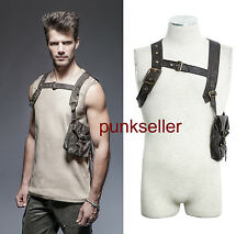 Punk Rave Steampunk Harness Bag Faux Leather Gothic Victorian Single vest Brown