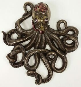 Nautical Steampunk Octopus Rebreather Wall Plaque Statue Bronze Finish